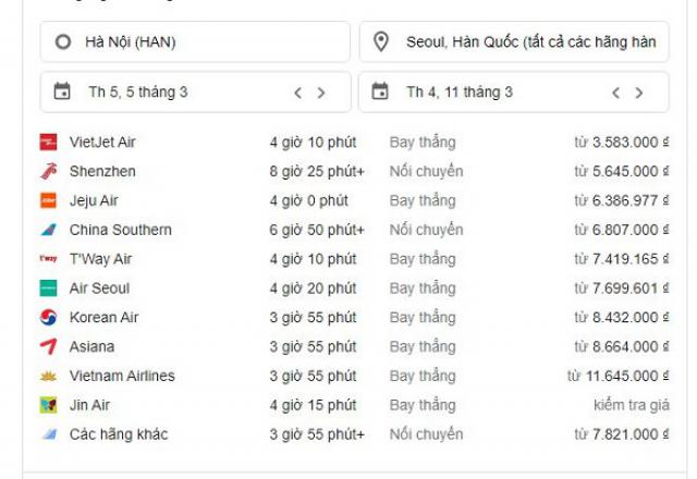 Từ Việt Nam sang Hàn Quốc mất mấy tiếng?